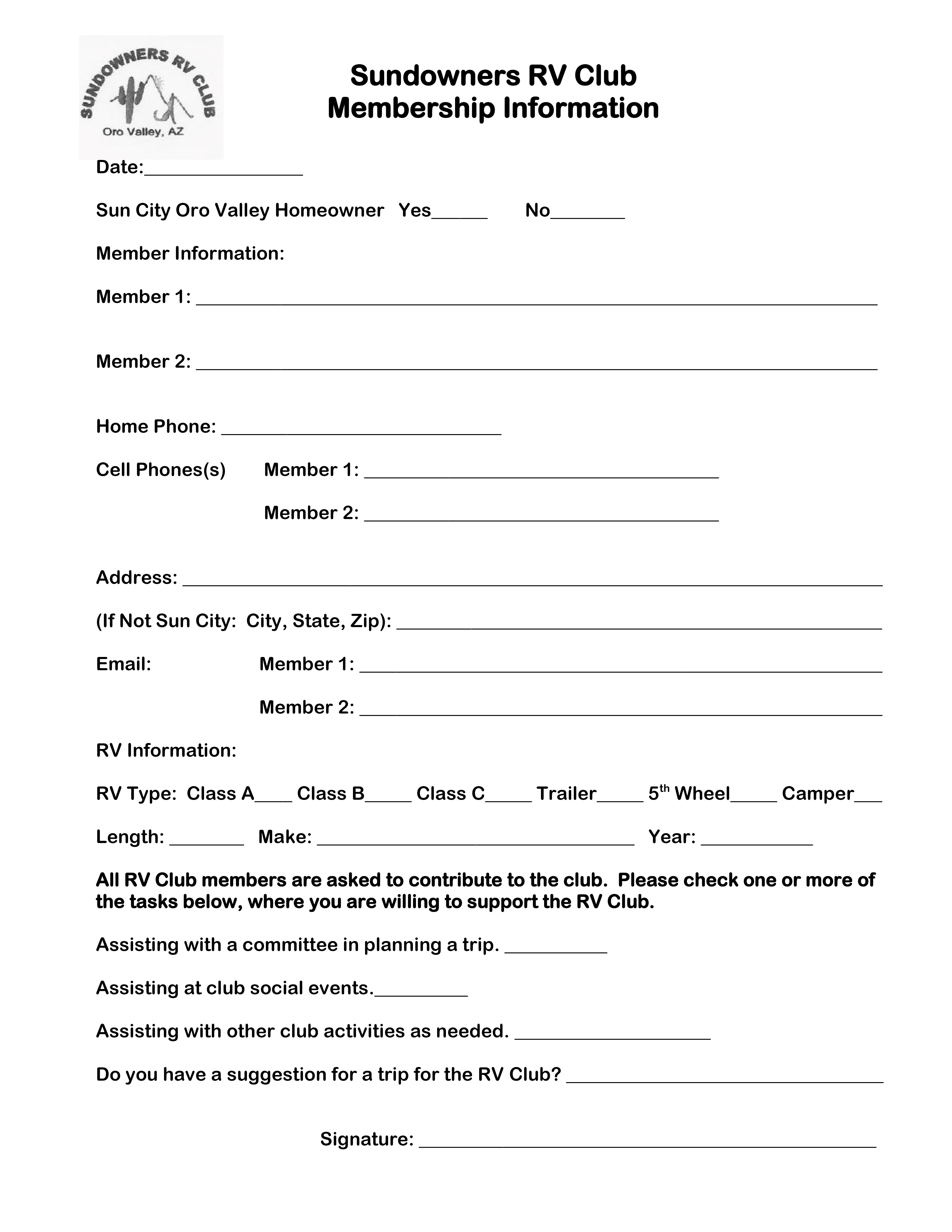 Sundowners RV Club - Membership Application